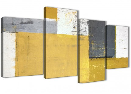 Large Mustard Yellow Grey Abstract Painting Canvas Wall Art Print - Multi 4 Piece - 130cm Wide - 4340