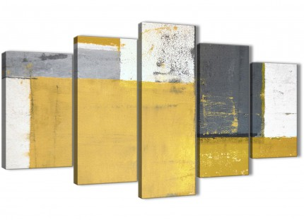 Extra Large Mustard Yellow Grey Abstract Painting Canvas Wall Art Print - Multi Set of 5 - 160cm Wide - 5340