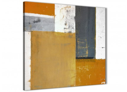 Orange Grey Abstract Painting Canvas Wall Art Print - Modern 64cm Square - 1s341m