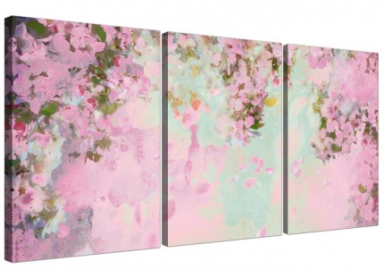 Shabby Chic Pale Dusky Pink Floral Canvas Split 3 Panel - 3281