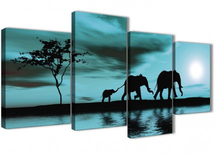 Large Teal African Sunset Elephants Canvas Wall Art Print - Split 4 Part - 130cm Wide - 4362