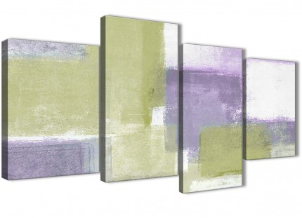 Large Lime Green Purple Abstract Painting Canvas Wall Art Print - Split 4 Panel - 130cm Wide - 4364