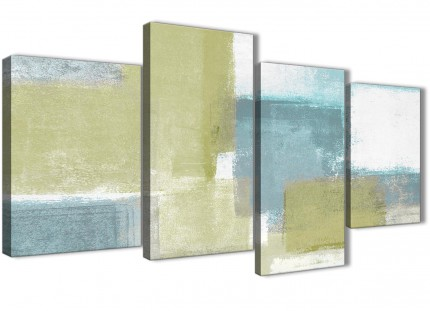 Large Lime Green Teal Abstract Painting Canvas Wall Art Print - Split 4 Piece - 130cm Wide - 4365