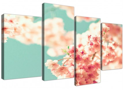 Large Japanese Cherry Blossom Shabby Chic Pink Blue Floral Canvas Multi 4 Panel - 4288
