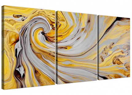 Mustard Yellow And Grey Spiral Swirl - Abstract Canvas Multi 3 Part - 3290