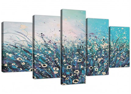 Teal Coloured Flowers Abstract Modern Floral XL Canvas - 5 Set - 160cm - 5260