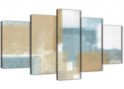 Extra Large Blue Beige Brown Abstract Painting Canvas Wall Art Print - Multi 5 Set - 160cm Wide - 5350