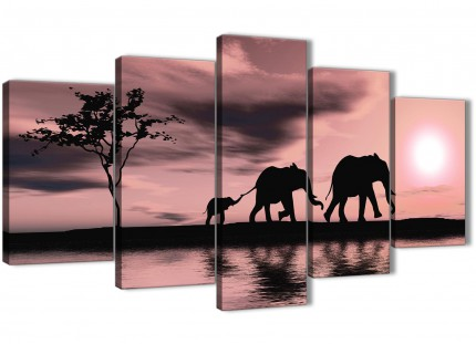 Extra Large Blush Pink African Sunset Elephants Canvas Wall Art Print - Multi 5 Piece - 160cm Wide - 5361