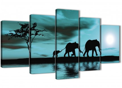 Extra Large Teal African Sunset Elephants Canvas Wall Art Print - Split 5 Piece - 160cm Wide - 5362