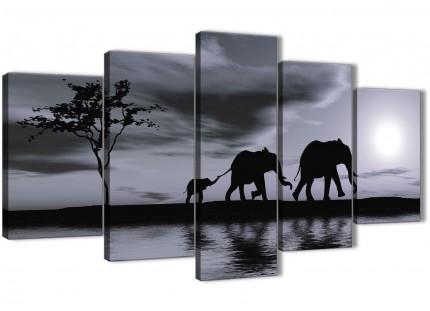 Extra Large Black White African Sunset Elephants Canvas Wall Art Print - Split 5 Piece - 160cm Wide - 5363