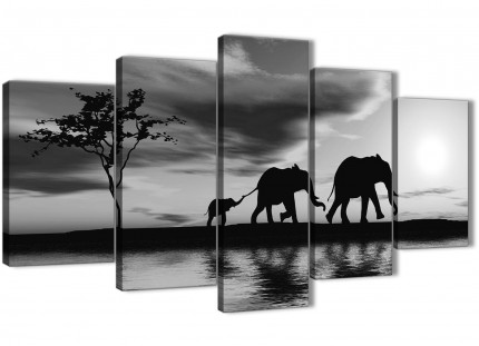 Extra Large Black White African Sunset Elephants Canvas Wall Art Print - Split 5 Piece - 160cm Wide - 5363