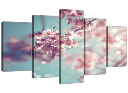Extra Large Duck Egg Blue Pink Shabby Chic Blossom Floral Canvas Split 5 Piece - 5280