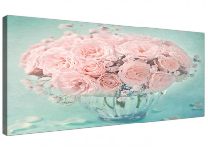 Duck Egg Blue and Pink Roses Flower Floral Shabby Chic Canvas Modern 120cm Wide - 1287