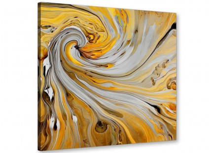 Mustard Yellow and Grey Spiral Swirl - Abstract Canvas Modern 49cm Square - 1s290s