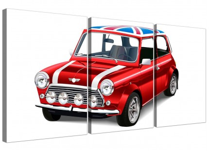 Mini Cooper Union Jack Canvas Split Set of 3 - 3277