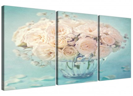 Duck Egg Blue & White Roses Flowers Floral Shabby Chic Floral Canvas Split 3 Piece - 3286