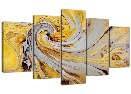 Extra Large Mustard Yellow And Grey Spiral Swirl - Abstract Canvas Multi 5 Part - 5290