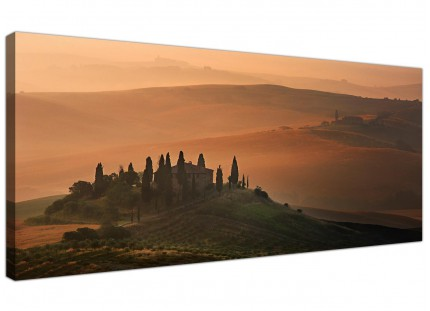 Brown Tuscan Vineyard Canvas Wall Decor - Italian Landscapes