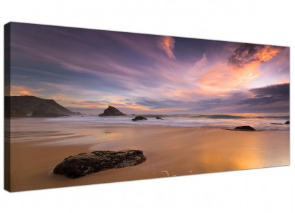 Purple and Brown Beach SunSet Landscape Canvas Art