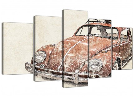 XL VW Beetle Bug - Rat Look Surfer Brown Volkswagen Abstract Canvas Split Set of 5 - 5279