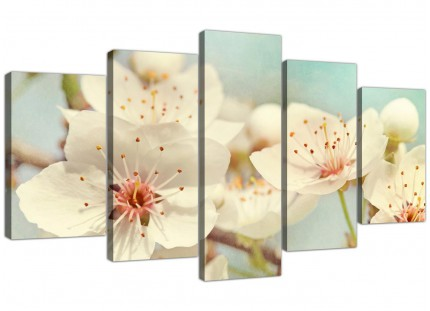 Extra Large Japanese Cherry Blossom Duck Egg Blue White Floral Canvas Multi 5 Set - 5289