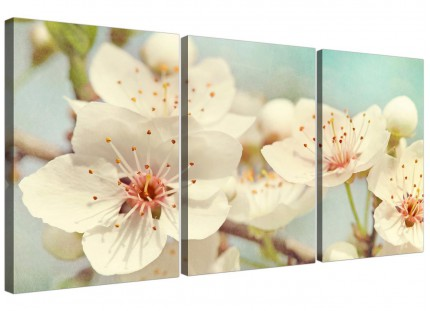 Japanese Cherry Blossom Duck Egg Blue White Floral Canvas Multi Set of 3 - 3289