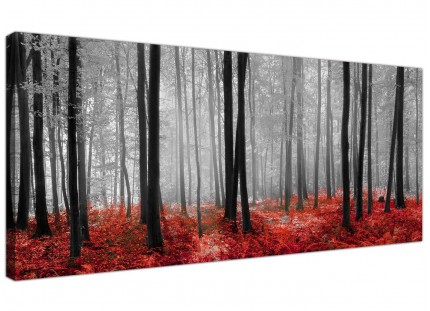 Black White and Red Forest Scene Canvas Print Woodland Trees Landscape Picture