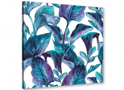 Turquoise and White Tropical Leaves Canvas Wall Art Prints - Modern 64cm Square - 1s323m