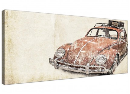 VW Beetle Bug - Rat Look Surfer Brown Volkswagen Abstract Canvas Modern 120cm Wide - 1279