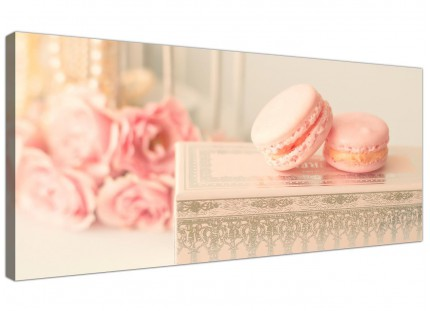 Pink Cream French Shabby Chic Bedroom Abstract Canvas Modern 120cm Wide - 1284