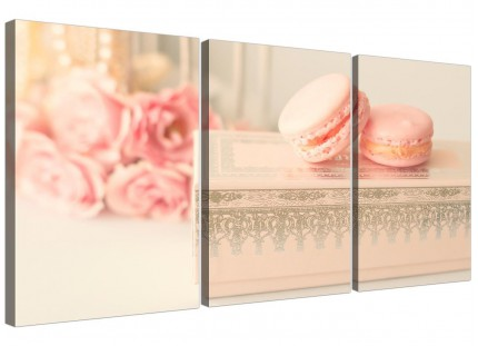 Pink Cream French Shabby Chic Bedroom Abstract Canvas Multi Set of 3 - 3284