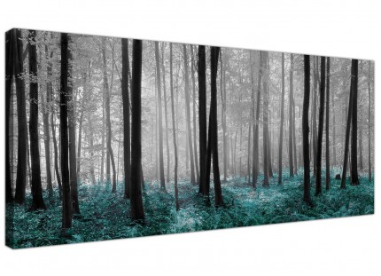 Black White Teal Forest Scene Canvas Print Woodland Trees Landscape Picture