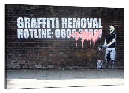Large Banksy Graffiti Removal Hotline Modern Canvas Art - 91cm - 162L