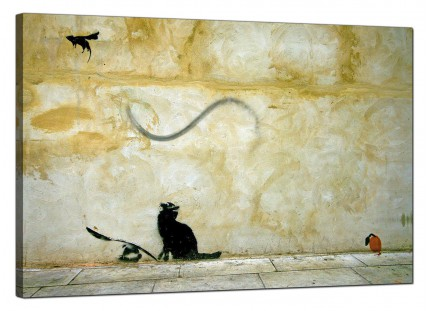 Large Banksy Cat and Mouse Modern Canvas Art - 91cm - 170L