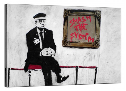 Large Banksy Smash the System Modern Canvas Art - 91cm - 178L