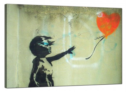 Large Banksy Girl With a Heart Balloon Orange Modern Canvas Art - 91cm - 158L