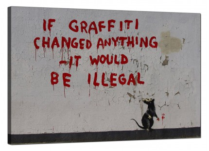 Large Banksy If Graffiti Changed Anything Modern Canvas Art - 91cm - 185L