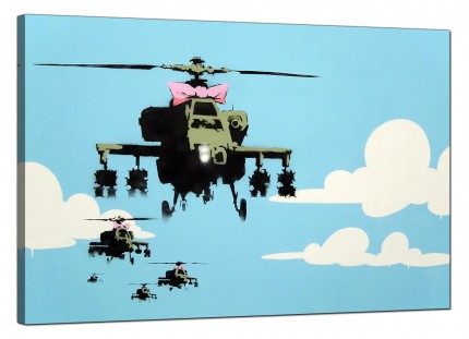 Large Banksy Happy Choppers Modern Canvas Art - 91cm - 172L