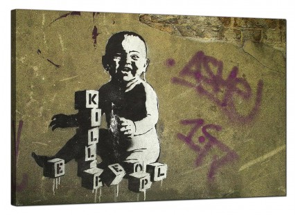 Large Banksy Kill People Baby Modern Canvas Art - 91cm - 156L