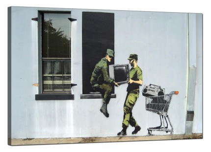 Large Banksy Looting Soldiers Modern Canvas Art - 91cm - 167L
