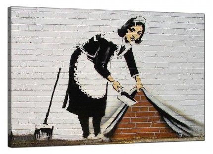 Large Banksy Sweeping it Under The Carpet Modern Canvas Art - 91cm - 161L