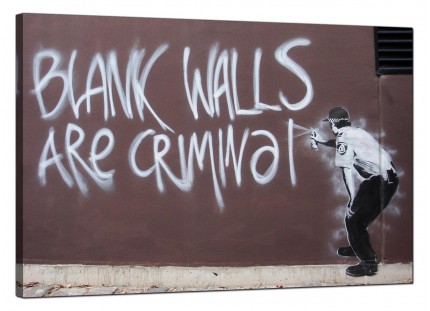 Large Banksy Blank Walls Are Criminal Modern Canvas Art - 91cm - 160L