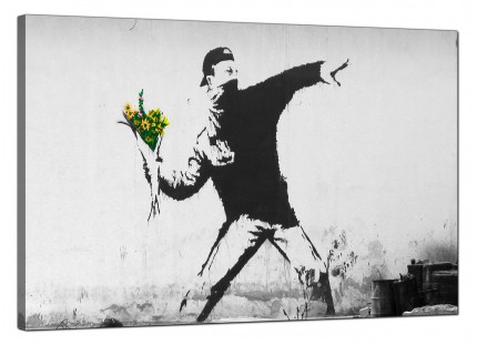 Large Banksy Flower Thrower Modern Canvas Art - 91cm - 166L