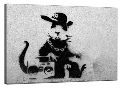 Large Banksy Rat With a Boombox Modern Canvas Art - 91cm - 163L