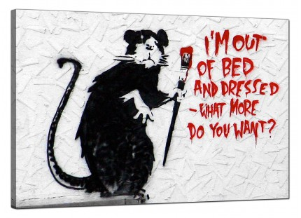 Large Banksy Im Out of Bed and Dressed Modern Canvas Art - 91cm - 176L