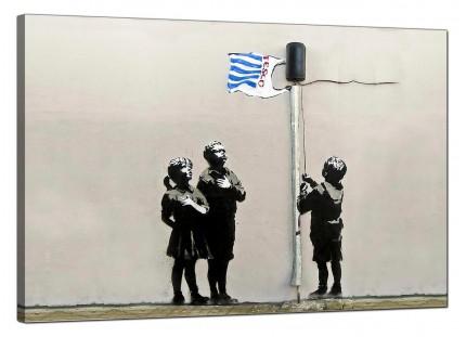 Large Banksy Tesco Generation - Very Little Helps Canvas Art - 91cm - 169L