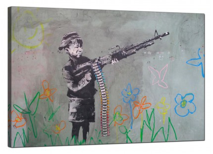 Large Banksy Boy with Crayon Gun Modern Canvas Art - 91cm - 183L