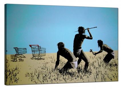 Large Banksy Hunting for Shopping Trolleys Modern Canvas Art - 91cm - 180L