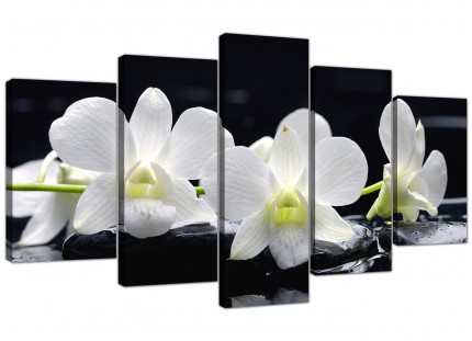 Extra Large Black and White Orchid Flower Floral Canvas - 5 Set - 160cm - 5051