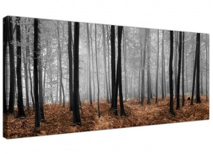 Black White Brown Forest Scene Canvas Print Woodland Trees Landscape Picture